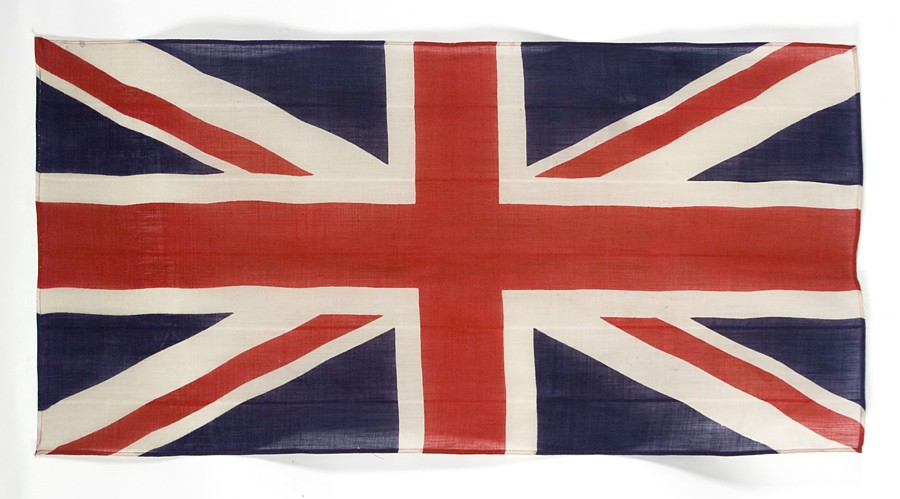 BRITISH UNION JACK, PRESS DYED WOOL, WWI WWII ERA (1914