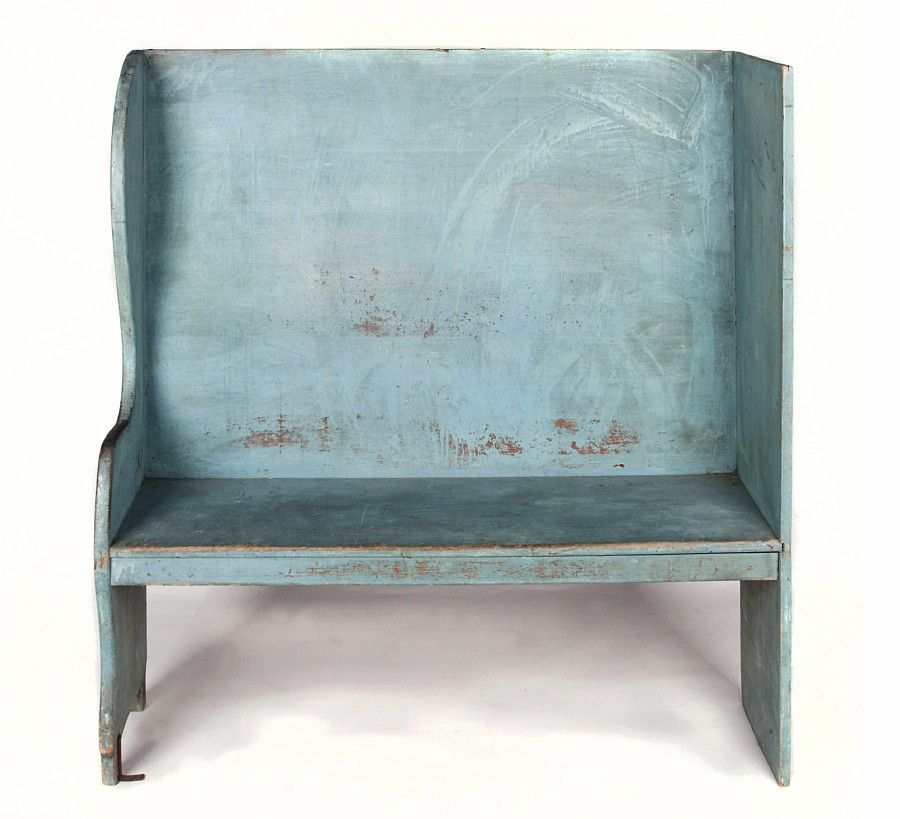 PAIR OF ROBINu0027S EGG BLUE PAINTED BENCHES FROM A PORTICO ON AN 1890u0027S HOME IN