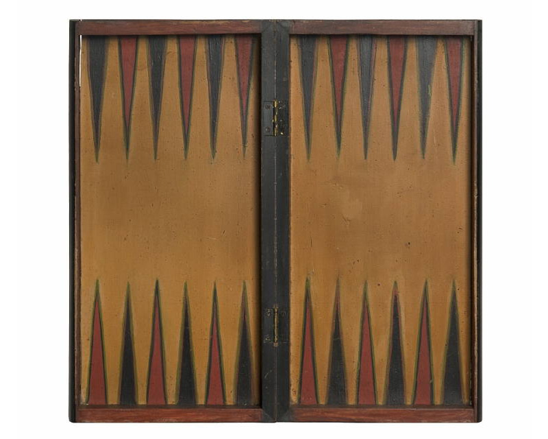 PAINT DECORATED, BOOK BOX STYLE, FOLDING BACKGAMMON BOARD, MUSTARD,  PERSIMMON