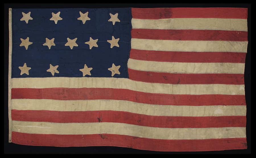 Jeff bridgman antique flags and painted furniture antique american antique american flag with 13 stars an extraordinary survivor of the 1820 1840 period publicscrutiny Choice Image