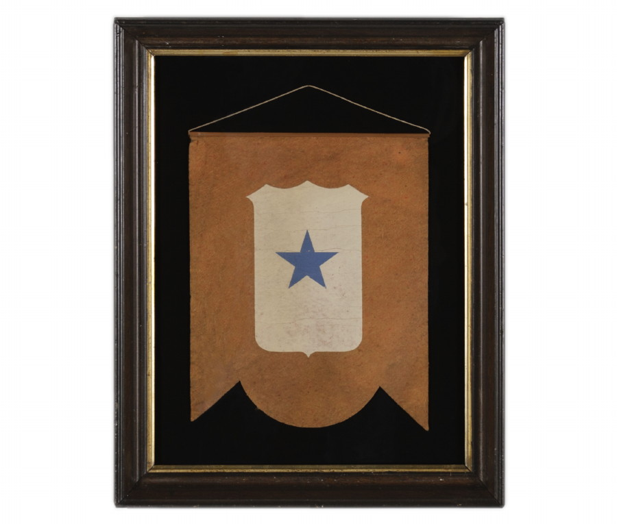 Amazing WWI SON IN SERVICE WINDOW BANNER WITH AN ATTRACTIVE, SCALLOPED PROFILE, MADE
