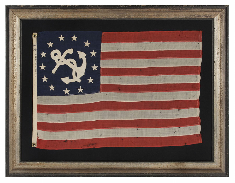 Jeff bridgman antique flags and painted furniture antique private antique private yacht flag ensign with 13 stars and a fouled anchor marked publicscrutiny Choice Image