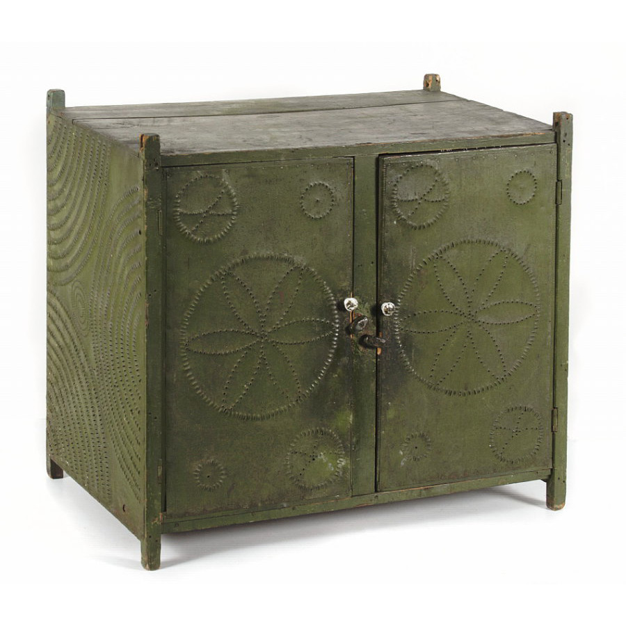 PENNSYLVANIA HANGING PIE SAFE IN OLIVE GREEN PAINT WITH HEX SYMBOL  PUNCHING, 1840 70