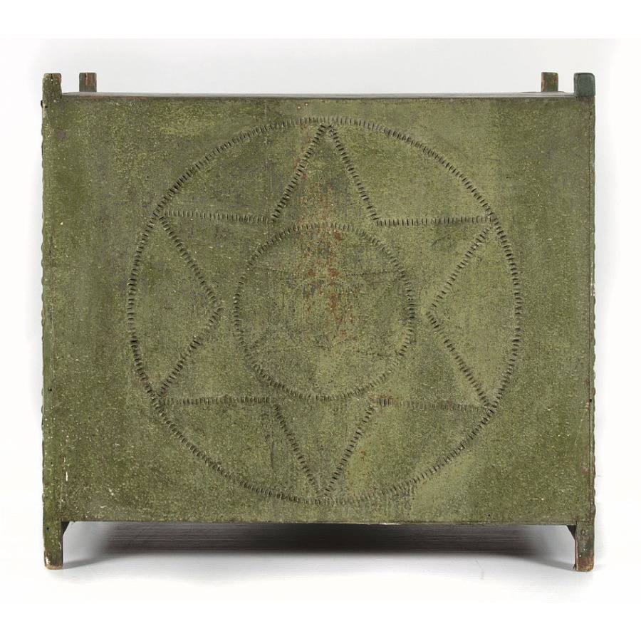 green painted furniture. PENNSYLVANIA HANGING PIE SAFE IN OLIVE GREEN PAINT WITH HEX SYMBOL PUNCHING, 1840-70 Green Painted Furniture