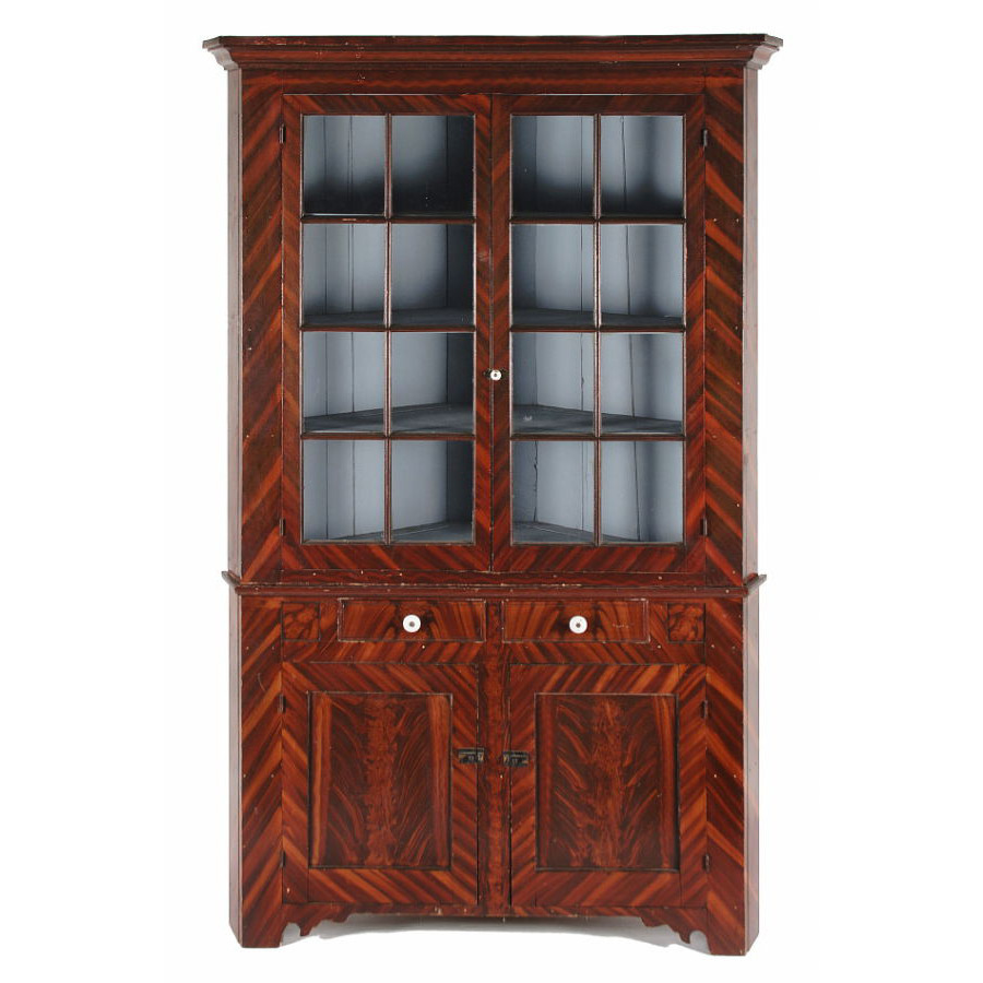 PAINT DECORATED CORNER CUPBOARD, ATTRIBUTED TO JOHN RUPP, YORK COUNTY,  PENNSYLVANIA,