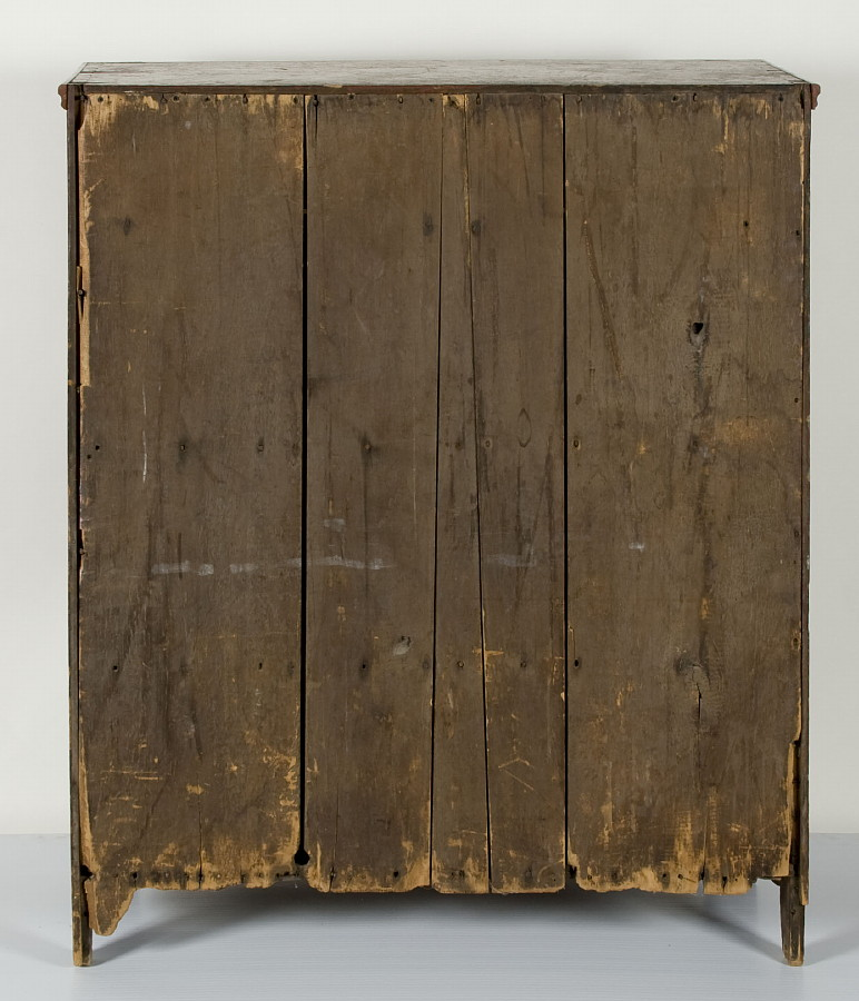 PENNSYLVANIA JELLY CUPBOARD IN TOMATO RED PAINTED SURFACE, 1820-40 - Jeff Bridgman Antique Flags And Painted Furniture - PENNSYLVANIA