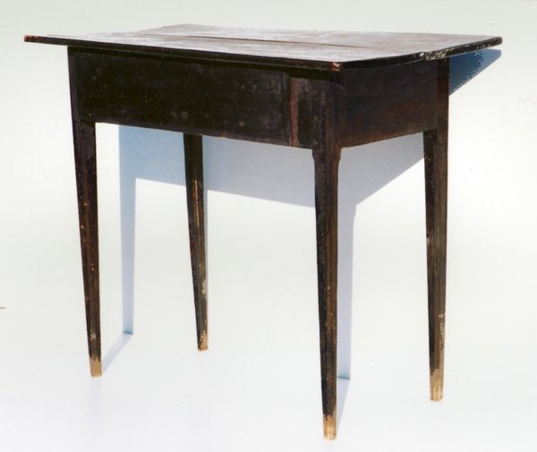 SHENANDOAH VALLEY HUNT BOARD TYPE WORK TABLE IN BLACK PAINT, CA 1840
