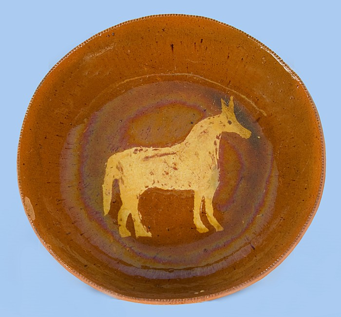 PENNSYLVANIA REDWARE PLATE BY MEDINGER SLIP-DECORATED WITH RARE IMAGE OF A HORSE & Jeff Bridgman Antique Flags and Painted Furniture - PENNSYLVANIA ...