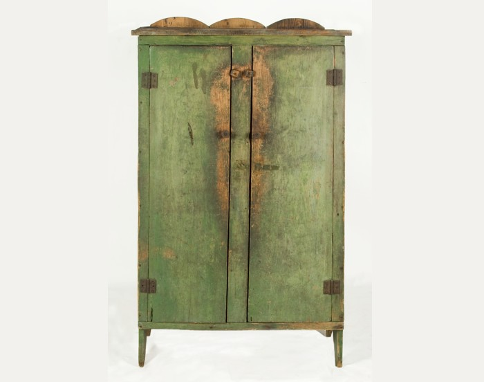 APPLE GREEN JELLY CUPBOARD, SHENANDOAH VALLEY, VIRGINIA, 1840-1870: - Jeff Bridgman Antique Flags And Painted Furniture - APPLE GREEN