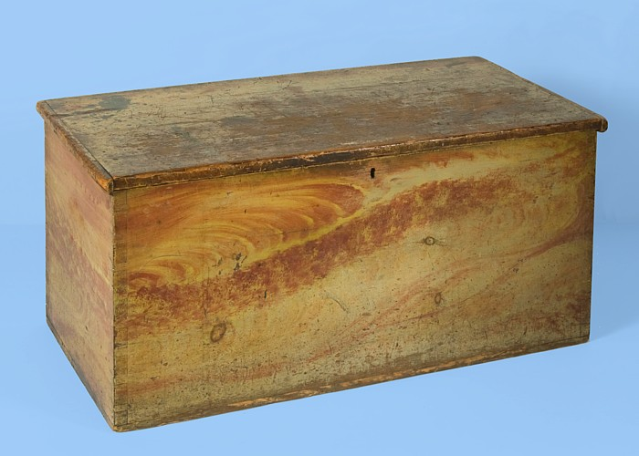 6 BOARD CHEST WITH WHIMSICAL GRAIN PAINT DECORATION, Ca 1810 1850, FOUND