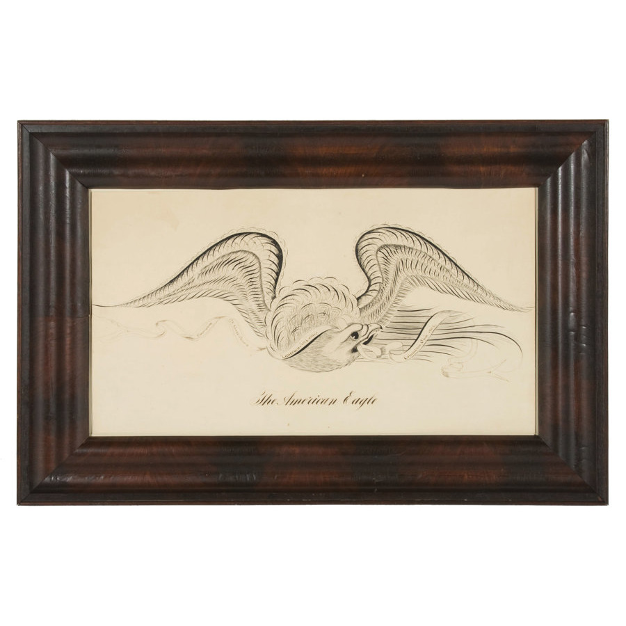 EAGLE CALLIGRAPHY DRAWING BY GEORGE BEACH, ZANERIAN ART COLLEGE, COLUMBUS,  OHIO, 1902 - Jeff Bridgman Antique Flags And Painted Furniture - EAGLE