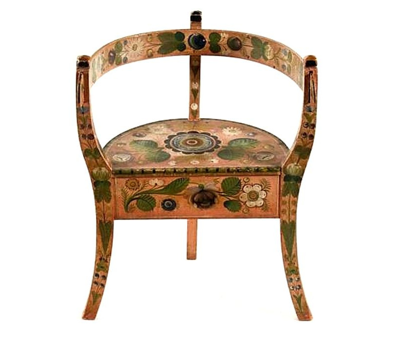 NORWEGIAN CORNER CHAIR WITH SALMON BACKGROUND & ELABORATE DECORATION,  TREMENDOUSLY WELL-PRESERVED, 1840 - Jeff Bridgman Antique Flags And Painted Furniture - NORWEGIAN
