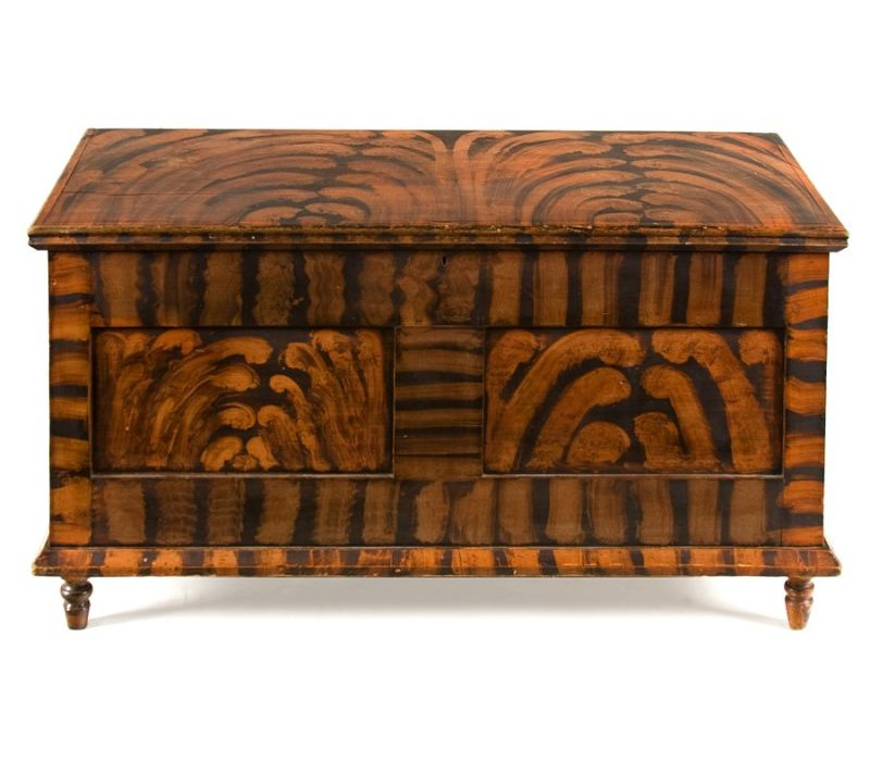 WESTERN PENNSYLVANIA OR OHIO BLANKET CHEST WITH EXHUBERANT  PAINT DECORATION, Ca 1830 40