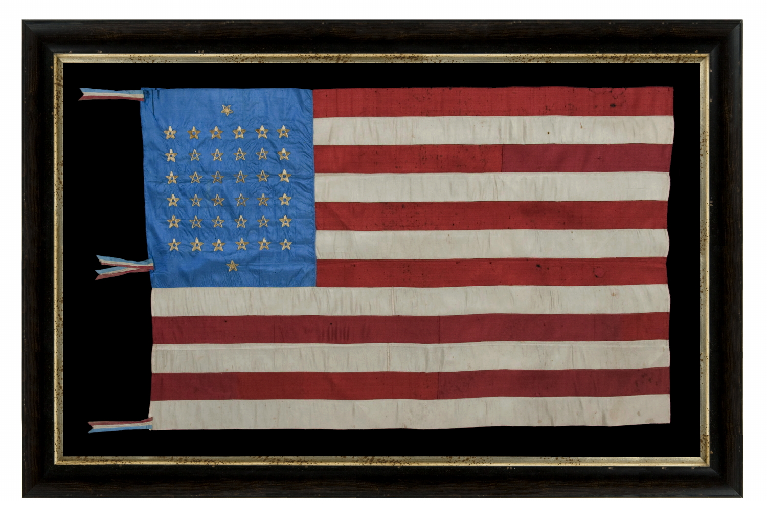 abcfa538a31 Jeff Bridgman Antique Flags And Painted Furniture 38 Star Silk. 38 Star Flag  Antique Image. Large Framed 38 Star Flag Hand Sewn Stars Sku 11336 Sold