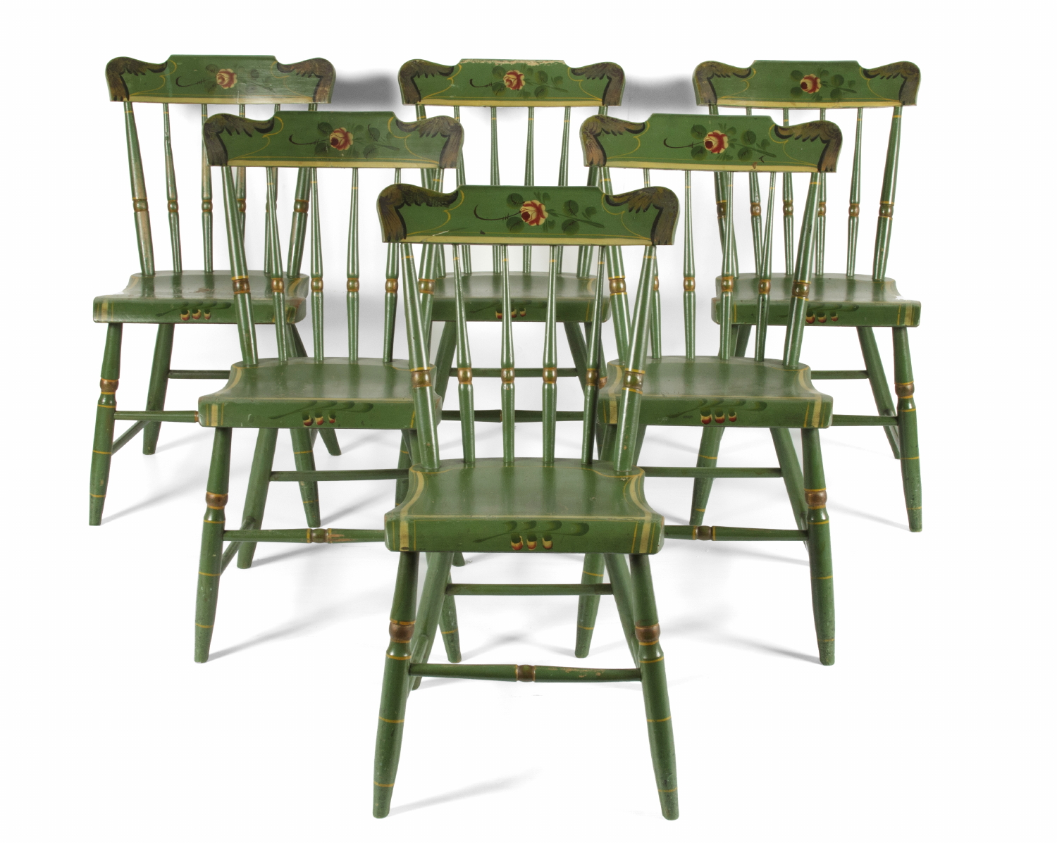 SET OF 6, GREEN, PLANK SEATED, SPINDLE BACK, PAINT