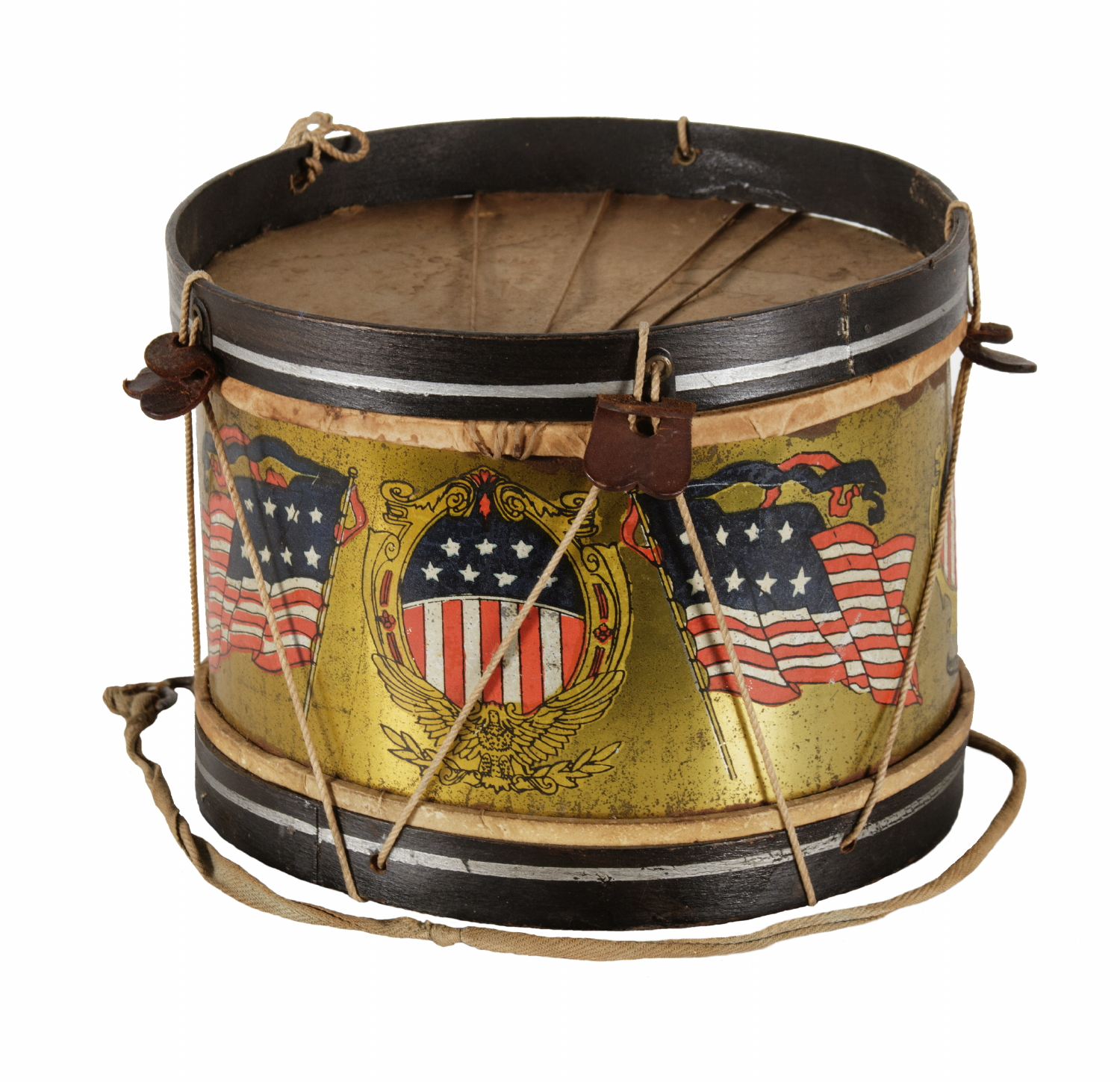 PATRIOTIC TOY DRUM WITH OVAL SHIELDS AND AMERICAN FLAGS, SIGNED