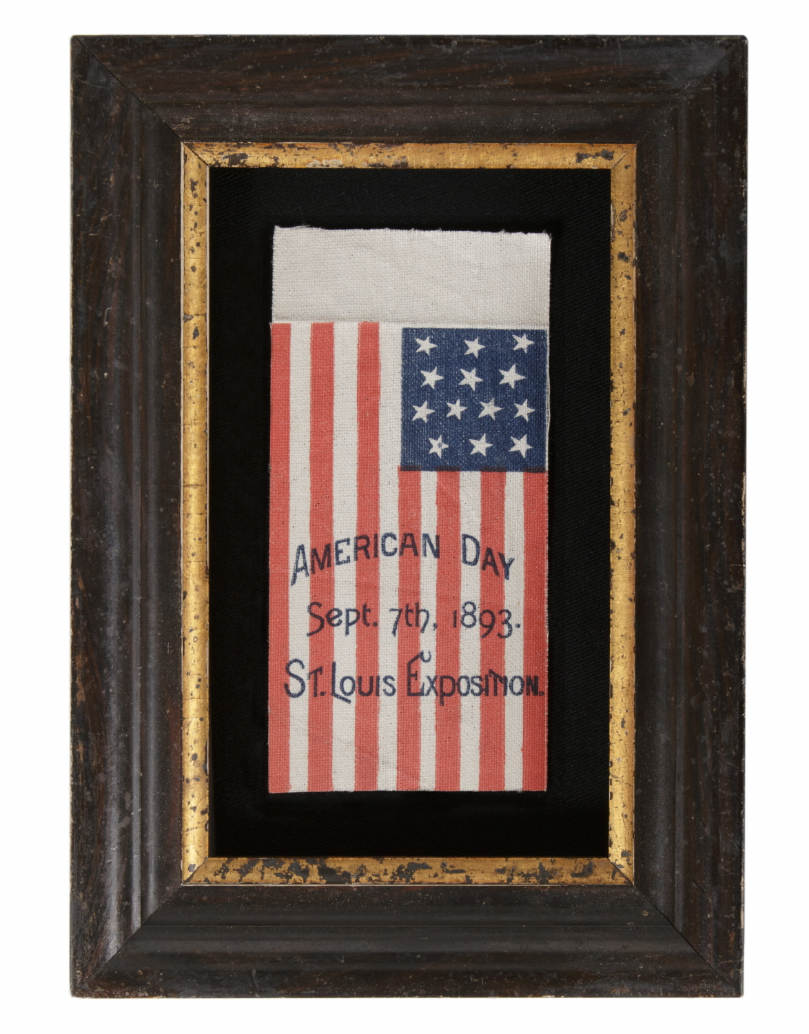13 STARS IN A PATTERN UNIQUE TO THIS STYLE OF ANTIQUE PARADE FLAG, MADE TO
