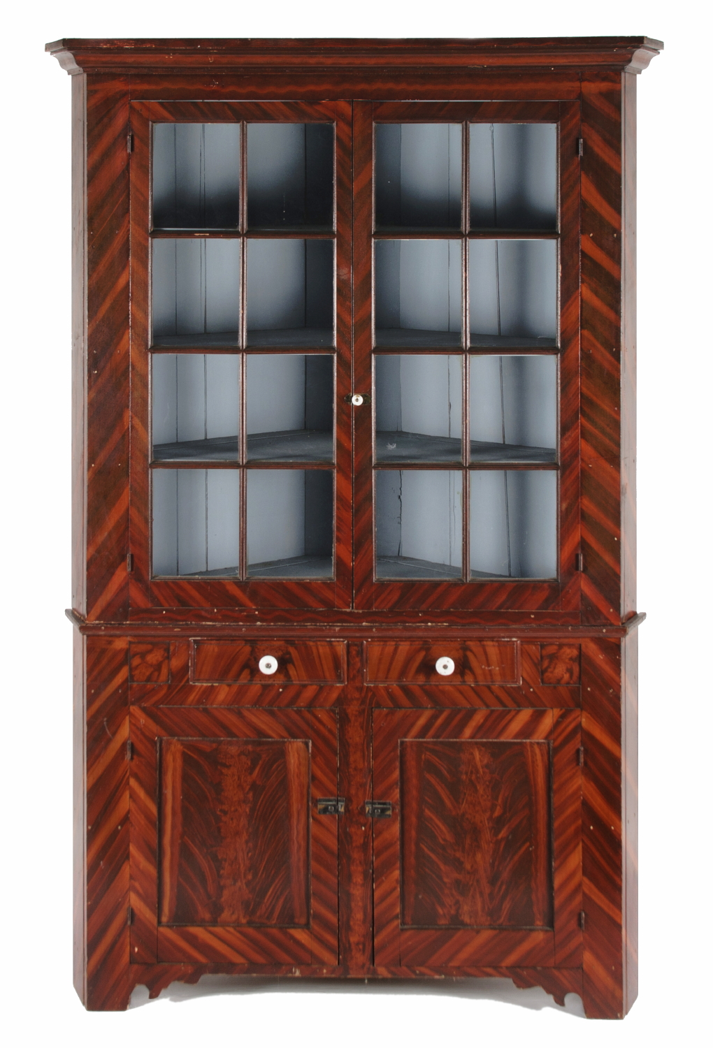PAINT-DECORATED CORNER CUPBOARD, ATTRIBUTED TO JOHN RUPP, YORK COUNTY,  PENNSYLVANIA, - Jeff Bridgman Antique Flags And Painted Furniture - PAINT-DECORATED