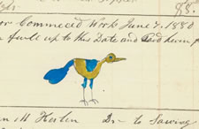 JUNIATA COUNTY, PENNSYLVANIA GERMAN WATERCOLOR OF A SMALL BLUE AND YELLOW BIRD, CA 1880