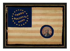 SILK, CIVIL WAR BATTLE FLAG OF THE GREEN MOUNTAIN BOYS, WITH WHIMSICAL GOLD TEXT SURROUNDED BY A SOUTHERN-EXCLUSIONARY COUNT OF 20-STARS, A PAINTED EAGLE ON THE REVERSE, AND A PORTRAIT OF GEORGE WASHINGTON THAT WAS AFTERWARDS APPLIQUED IN THE CANTON (PROBABLY IN 1876 OR 1889). ONE OF THE MOST EXCEPTIONAL, RARE AMERICAN FLAGS IN PRIVATE HANDS