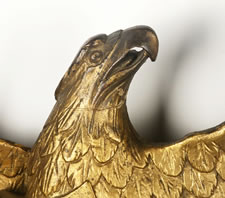 STERN BOARD STYLE EAGLE ATTRIBUTED TO WILLIAM RUSH OF PHILADELPHIA (1766-1833), CARVED & GILDED, WITH OUTSTANDING FORM, COLOR, AND SURFACE, CA 1810-30