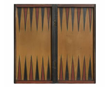 PAINT-DECORATED, BOOK-BOX STYLE, FOLDING BACKGAMMON BOARD, MUSTARD, PERSIMMON RED, & BLACK WITH FLORAL DECORATION, ca 1880