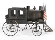 FANTASTIC AMERICAN LOCOMOTIVE PEDAL VEHICLE, WITH GREAT FOLK QUALITIES, MADE IN THE FORM OF THE FAMOUS NEW YORK EMPIRE EXPRESS, CA 1895-1910