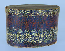 1827 NEW HAMPSHIRE BAND BOX IN RED, WHITE, AND INK BLUE WALLPAPER, MADE BY HANNAH DAVIS