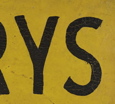 """CANARYS FOR SALE"" TRADE SIGN IN CHROME YELLOW PAINT, 1910-1930"