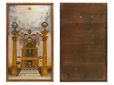 RARE MASONIC TRACING BOARD OF EXQUISITE QUALITY, PAINTED IN OIL ON CANVAS LAID OVER WIDE, HAND-PLANED POPLAR PANELS, CA 1815-1840: