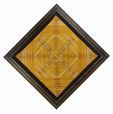 CIGAR SILK PIECEWORK GAME TABLE COVER, CIRCA 1880-1910