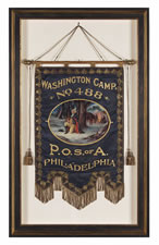 "ELABORATE SILK BANNER WITH GILDED TEXT, SPECTACULAR BULLION TRIM, AND A BEAUTIFULLY PAINTED RENDITION OF GEORGE WASHINGTON'S FAMOUS ""PRAYER AT VALLEY FORGE"", MADE FOR THE PATRIOTIC ORDER SONS OF AMERICA, PHILADELPHIA, 1901, BY LOUIS E. STILZ & BRO."