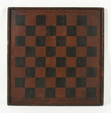 LARGE SCALE, PAINT-DECORATED CHECKERS & DRAUGHTS GAME BOARD IN OXBLOOD RED PAINT, AMERICAN, CA 1840