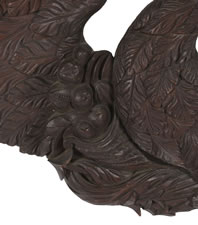 EXPERTLY CARVED AMERICAN OVER-DOOR EAGLE WITH BEAUTIFUL STYLE, LARGE SCALE & GREAT SURFACE, WALNUT, 1830-1860, PROBABLY OF PENNSYLVANIA ORIGIN