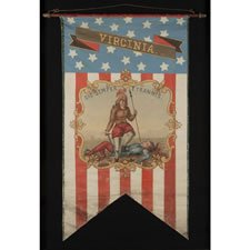 HAND-PAINTED PATRIOTIC BANNER WITH THE SEAL OF THE STATE OF VIRGINIA AND GREAT FOLK QUALITIES