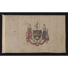 EARLY FLAG OF PHILADELPHIA, PROBABLY 1874-1876, PRINTED ON A WOOL & COTTON BLENDED FABRIC AND HAND-COLORED, EXTREMELY RARE