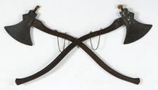 RARE PAIR OF FIREMAN'S AXE PARADE TORCHES, 1860-1880