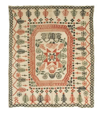 EXTREMELY RARE WEFTWORK BEDSPREAD, MID-19TH CENTURY