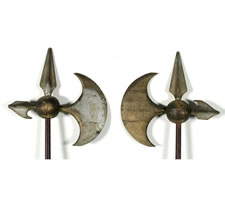 PAIR OF 19TH CENTURY, AMERICAN, FRATERNAL REGALIA HALBERDS