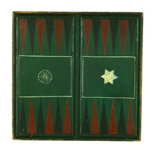 "PENNSYLVANIA BACKGAMMON BOARD, SIGNED ""WISE"" WITH IMAGES OF A WAGON WHEEL AND A STAR OF DAVID, 1850-1880"