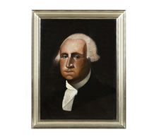 FOLK PAINTING OF GEORGE WASHINGTON BY MICHIGAN BARBER CYRUS T. FUERY, SIGNED AND DATED 1917, EXHIBITED AT THE ABBY ALDRIDGE ROCKEFELLER FOLK ART MUSEUM, COLONIAL WILLIAMSBURG, 1976