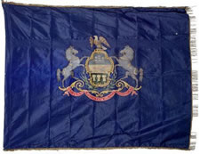 PRE-1875 PENNSYLVANIA STATE STANDARD, HAND-PAINTED CREST ON SILK, BULLION FRINGE