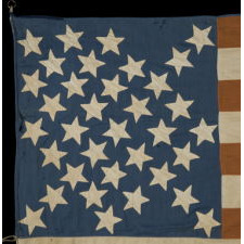 33 STARS, LATER UPDATED TO 35, WITH A RARE AND INTERESTING DIAMOND CONFIGURATION, ACCOMPANIED BY HAND-WRITTEN NOTES THAT RECORD IT AS HAVING BEEN FLOWN IN CELEBRATION OF WARTIME VICTORIES, AS WELL AS TO MOURN THE DEATH OF THREE PRESIDENTS, YET WITH A DESIGN THAT MAY DISPLAY CONFEDERATE SYMPATHIES; MADE BY MRS. JOHN DRUM, 1861, FOUND NEAR ERIE, PENNSYLVANIA