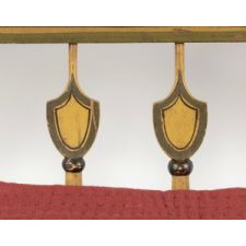 CHROME YELLOW, PAINT-DECORATED SETTEE IN AN UNUSUAL TRIPLE-BACK-SLAT DESIGN WITH BOLD, SHIELD-SHAPED SPINDLES, CA 1820-30