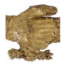 PRESSED BRASS EAGLE, AN EARLY PARADE FLAG HOLDER & BUNTING TIE-BACK, AN ESPECIALLY ATTRACTIVE EXAMPLE, ca 1870-1890's: