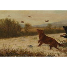 """UPLAND BIRD HUNTING SCENE WITH TWO SETTERS AND A POINTER, ENTITLED """"TOO FAST"""" BY N. H. TROTTER (1827-1898), PHILADELPHIA, OIL ON CANVAS, SIGNED AND DATED 1888"""