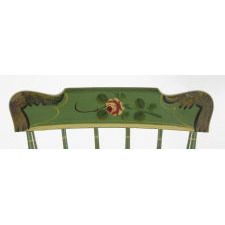 SET OF 6, GREEN, PLANK-SEATED, SPINDLE-BACK, PAINT-DECORATED, PENNSYLVANIA CHAIRS, CA 1845-70