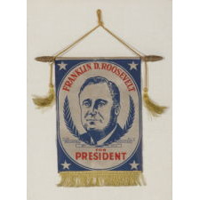 PATRIOTIC WINDOW BANNER WITH A PORTRAIT OF FRANKLIN DELANO ROOSEVELT, MADE TO SUPPORT HIS CAMPAIGN FOR RE-ELECTION IN 1940