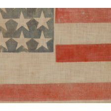 34 STARS IN A VERY RARE PATTERN THAT FEATURES A HUGE CENTER STAR IN THE MIDST OF A LINEAL STAR PATTERN, ONE-OF-A-KIND AMONG KNOWN EXAMPLES, CIVIL WAR PERIOD, 1861-63