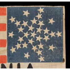 "31 STARS ARRANGED IN A RARE VARIATION OF THE ""GREAT STAR"" PATTERN, WITH THE WORD ""VIRGINIA"" PAINTED IN THE STRIPES, A PRE-CIVIL WAR FLAG, CALIFORNIA STATEHOOD, 1850-1858, PART OF A SERIES OF THESE FLAGS, THOUGHT TO HAVE BEEN USED AT THE WIGWAM CONVENTION (THE 1860 REPUBLICAN NATIONAL CONVENTION) IN CHICAGO"